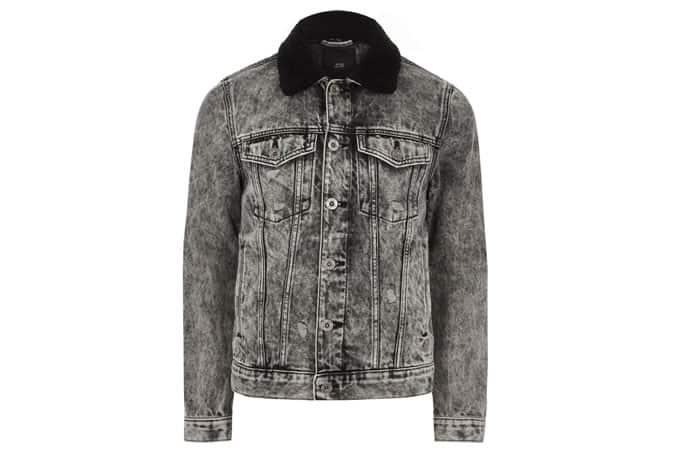 Veste en jean à col borg délavé à l'acide gris