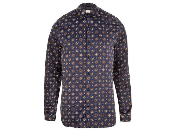 Chemise à manches longues en satin imprimé géo bleu marine