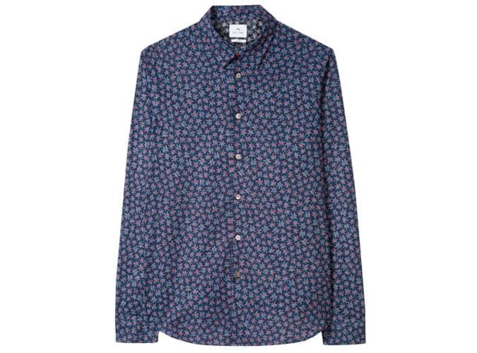 Chemise Slim Fit en coton imprimé floral déchiré bleu marine pour homme