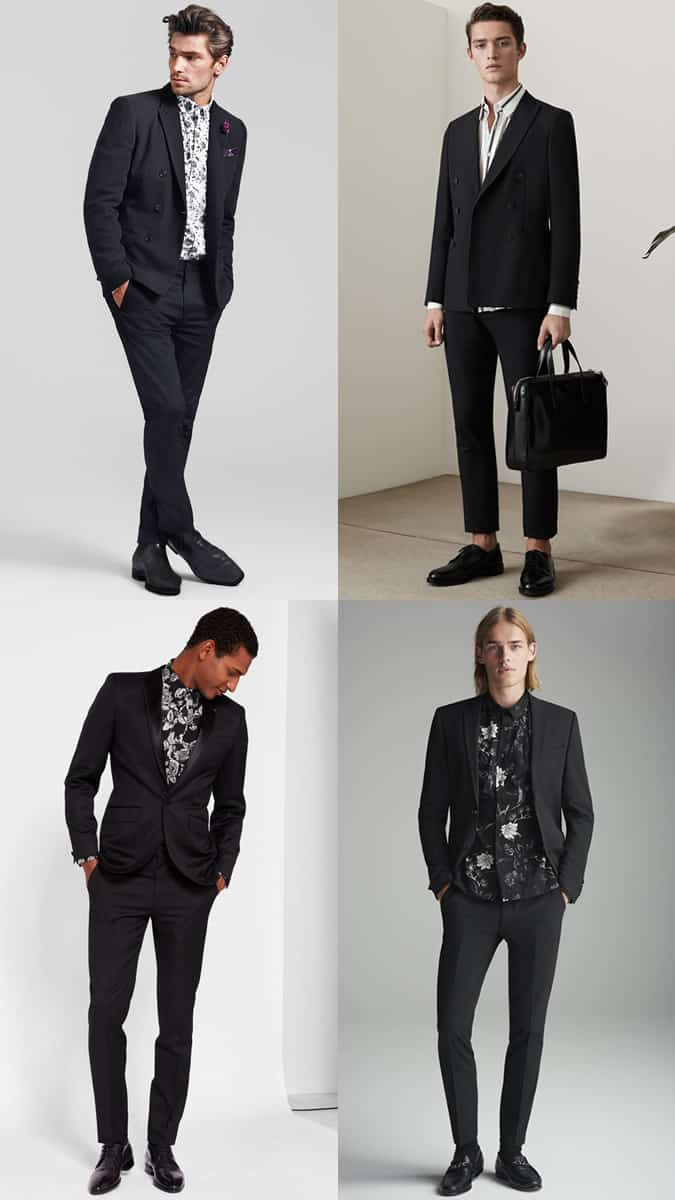 How To Wear Printed Shirts With A Black Suit