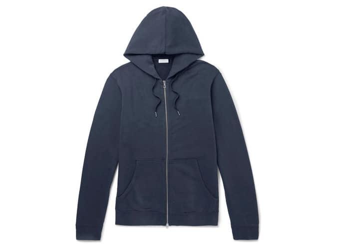 Sweat à capuche zippé en jersey de coton à boucle SUNSPEL