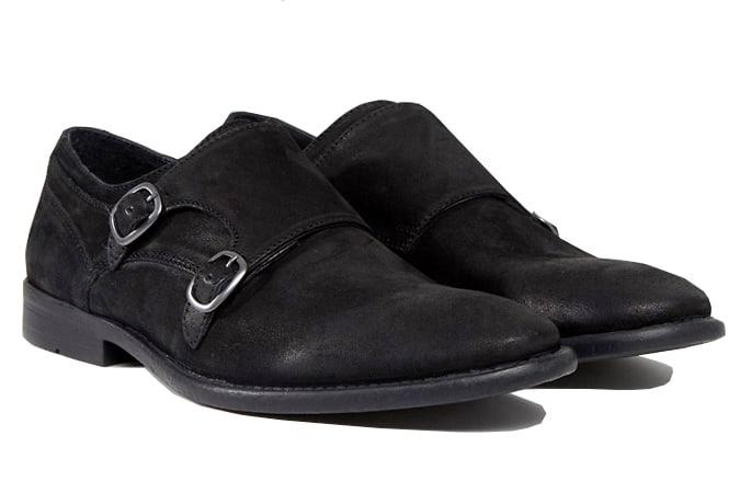 ASOS - Chaussures monk en daim noir avec semelle effet vieilli