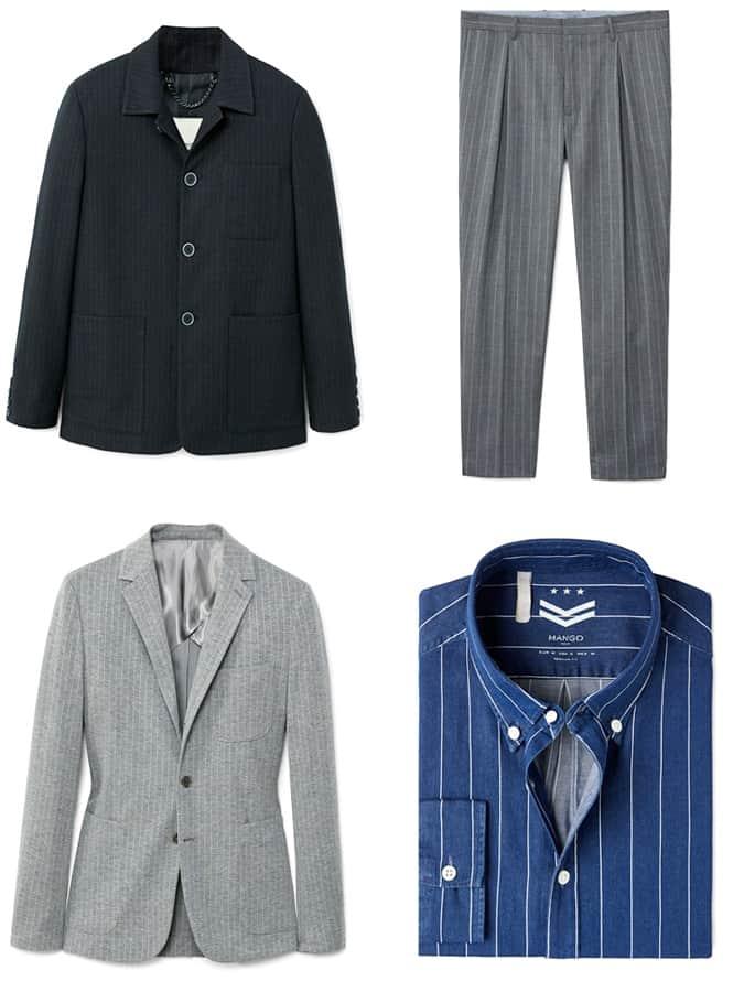 Chemises, vestes et pantalons à fines rayures pour hommes