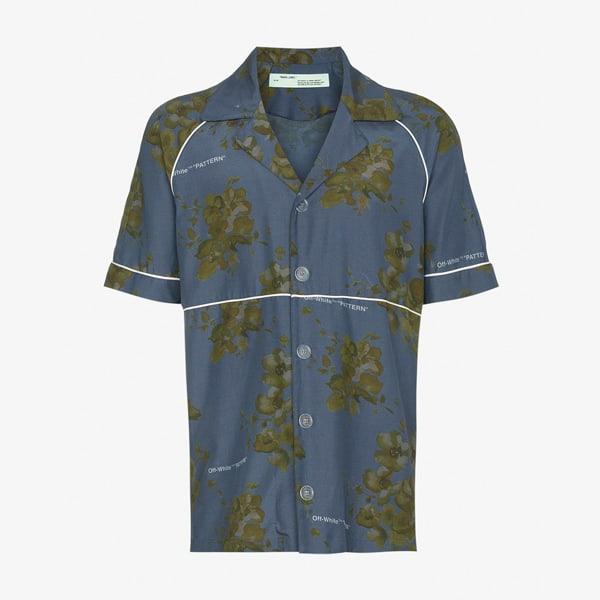 Chemise en coton à imprimé floral avec passepoil