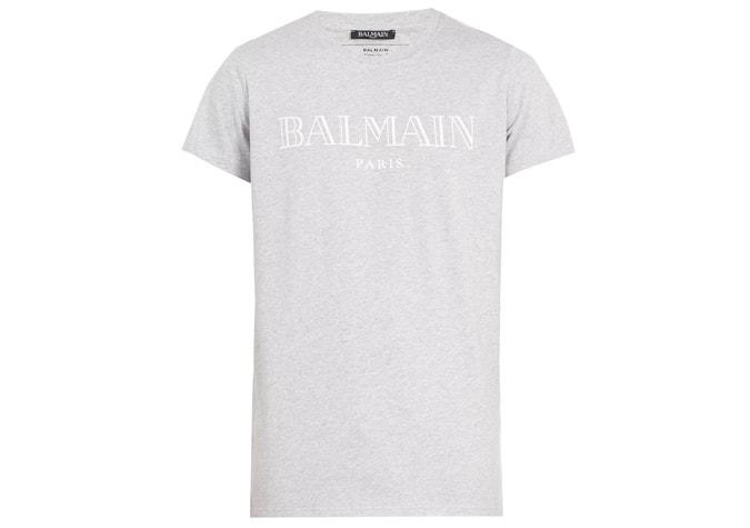 BALMAIN T-shirt en coton à imprimé logo