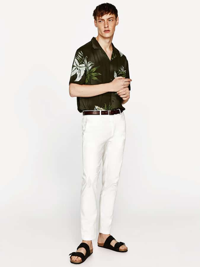 Jean blanc avec chemise imprimée
