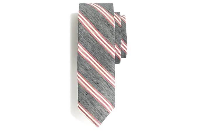 Cravate en lin et soie à rayures panachées