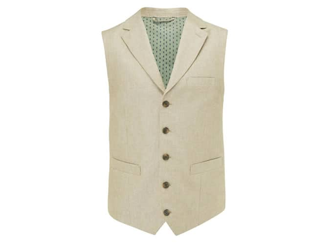 John Lewis Henry Linen Cotton Waistcoat, Sand