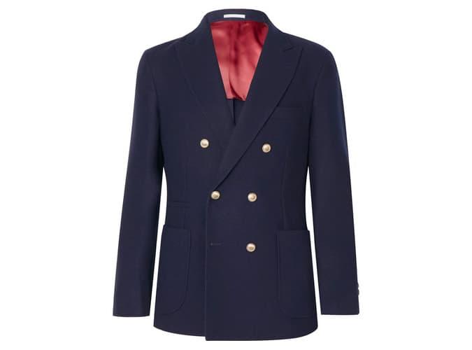 Brunello Cucinelli - Blazer croisé en laine et cachemire à double boutonnage bleu marine