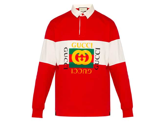 GUCCI Fake logo cotton-jersey rugby shirt