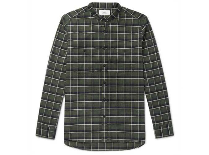 Chemise en flanelle de coton à carreaux MR P. Grandad-Collar