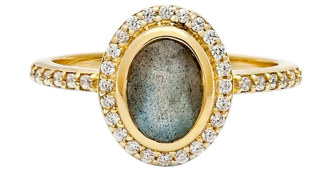 Leah Alexandra Cameo Labradorite and Cubic Zirconia Oval Ring, Gold