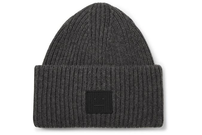 Bonnet en laine côtelé à logo appliqué ACNE STUDIOS