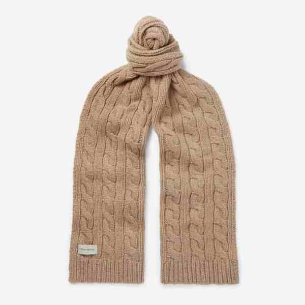 OLIVER SPENCER Écharpe en laine mélangée à mailles torsadées Arbury