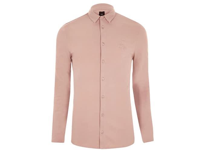 Chemise boutonnée rose 'R96' coupe ajustée