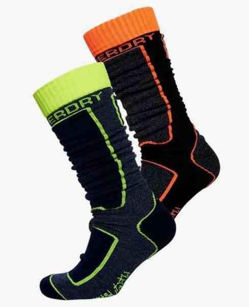 Superdry - Lot de deux paires de chaussettes de ski en laine mérinos