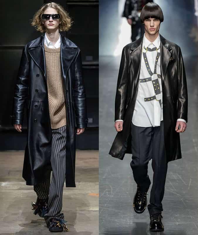 Manteaux en cuir Marni et Versace pour homme