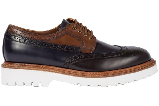 Chaussures richelieu en cuir noir et beige Paul Smith
