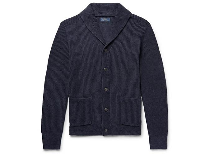 POLO RALPH LAUREN Cardigan en coton côtelé à col châle