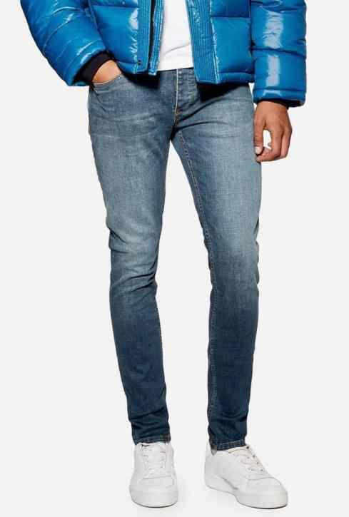 Jean skinny stretch délavage moyen Topman