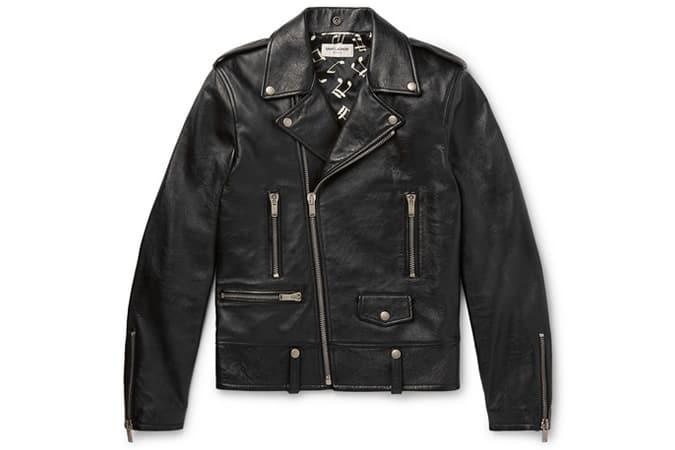 SAINT LAURENT Slim-Fit Textured-Leather Biker Jacket
