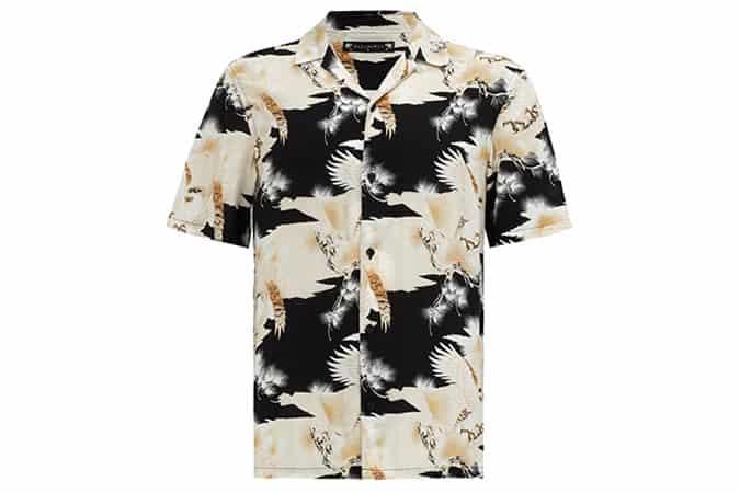 Chemise à manches courtes AllSaints Talon Eagle Print, Jet Black