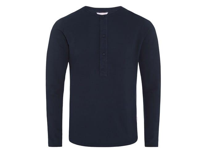 CRAINE WAFFLE T-shirt Henley bleu marine