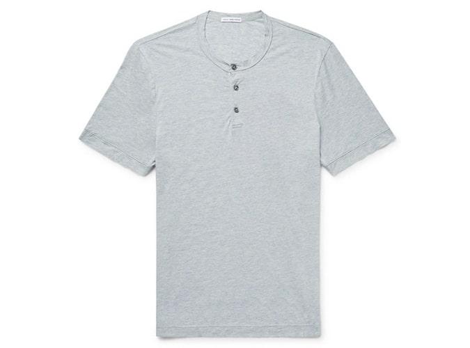 JAMES PERSE T-shirt en jersey de coton mélangé et cachemire mélangé Henley