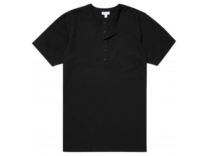 Men's Organic Cotton Henley T-Shirt in Black