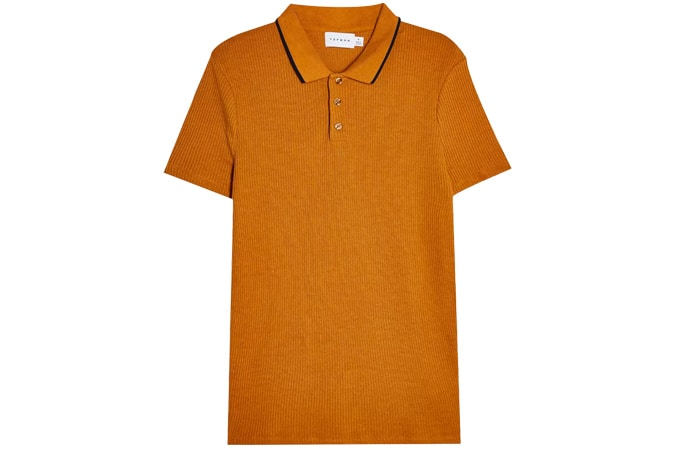 Brown Tipped Ribbed Short Sleeve Polo