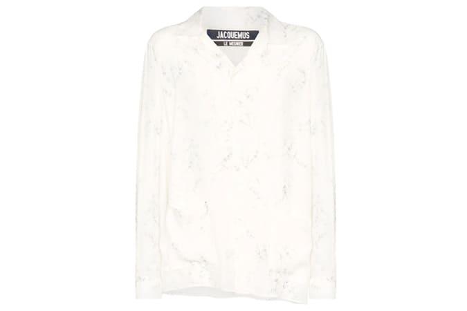 Jacquemus Etienne Open Collar Floral-Print Shirt