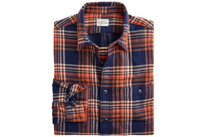 Slim midweight flannel shirt in orange plaid