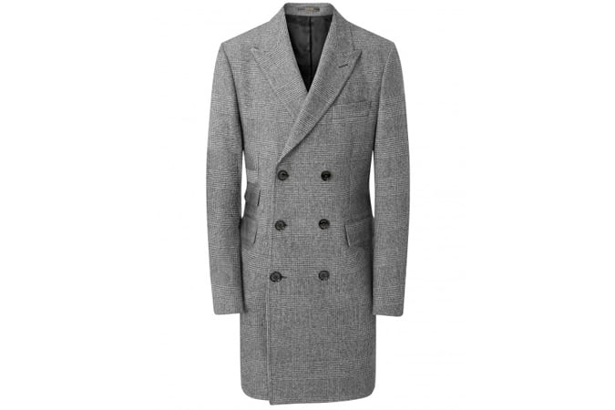 PURE WOOL GREY GLEN CHECK DOUBLE BREASTED COAT