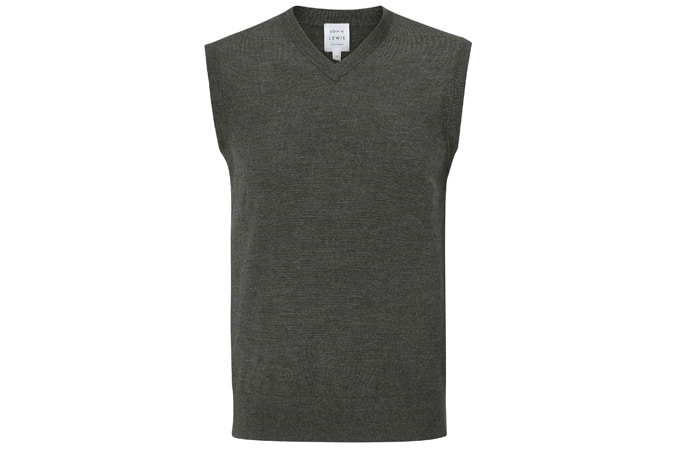 John Lewis & Partners Extra Fine Merino Tank Top, Charcoal