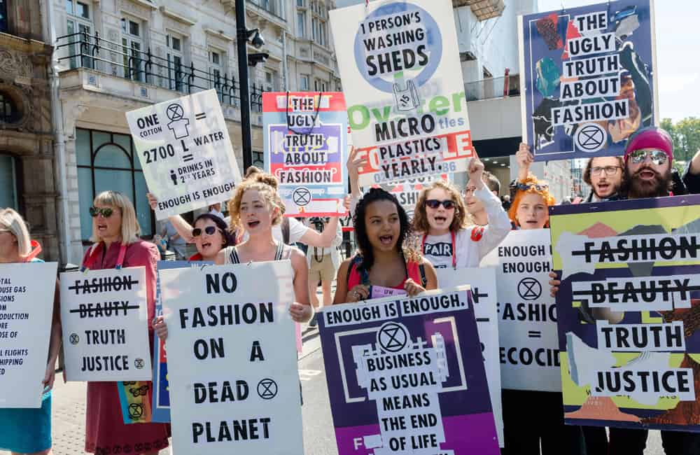 Extinction Rebellion Protest at London Fashion Week