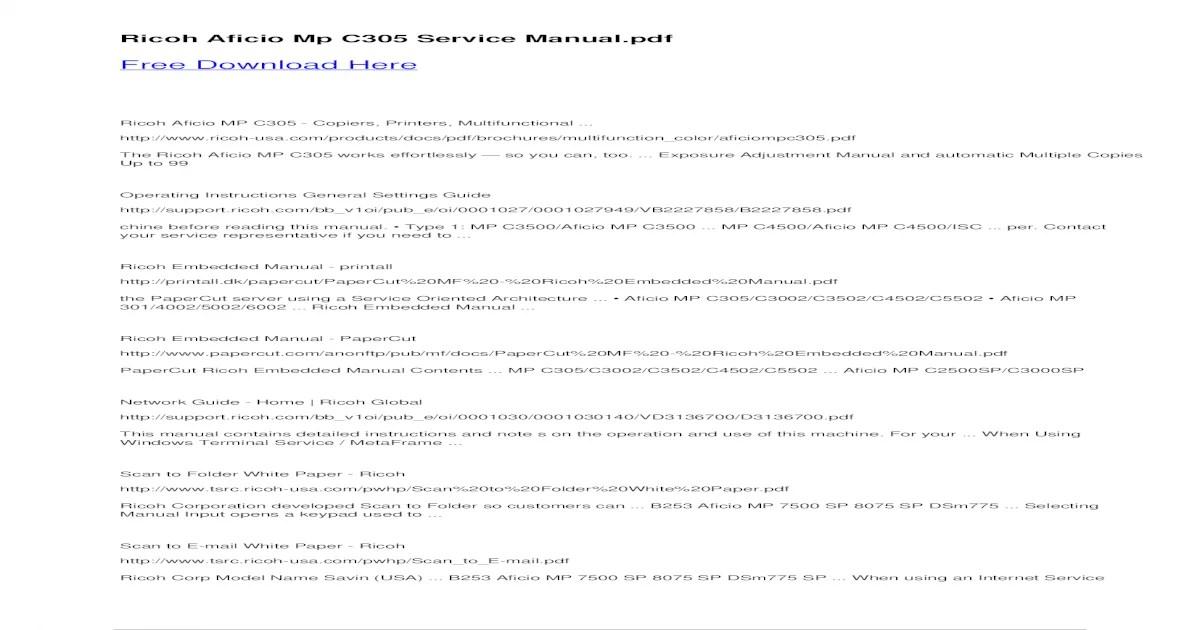 Bestseller: Ricoh Aficio Mp 2500 Service Manual