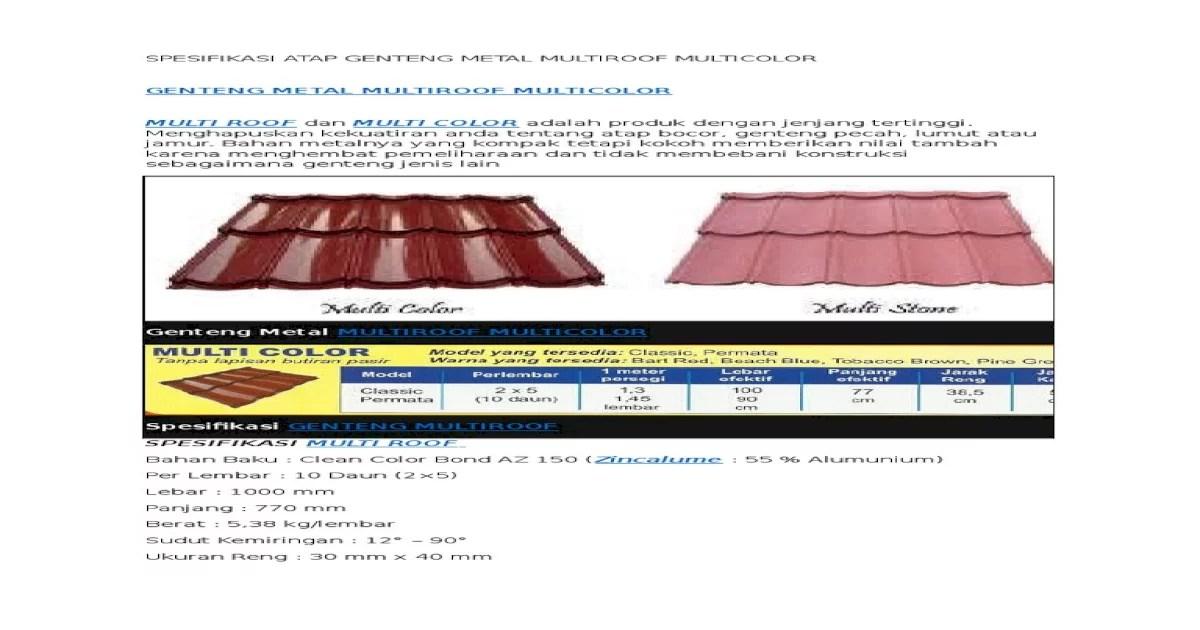 jarak reng baja ringan atap multiroof spesifikasi genteng metal multicolor pdf document