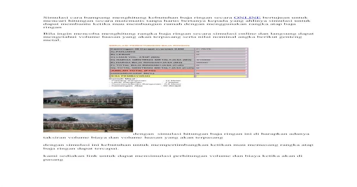 menghitung kebutuhan baja ringan untuk atap awalan mengetahui hitungan rangka docx document