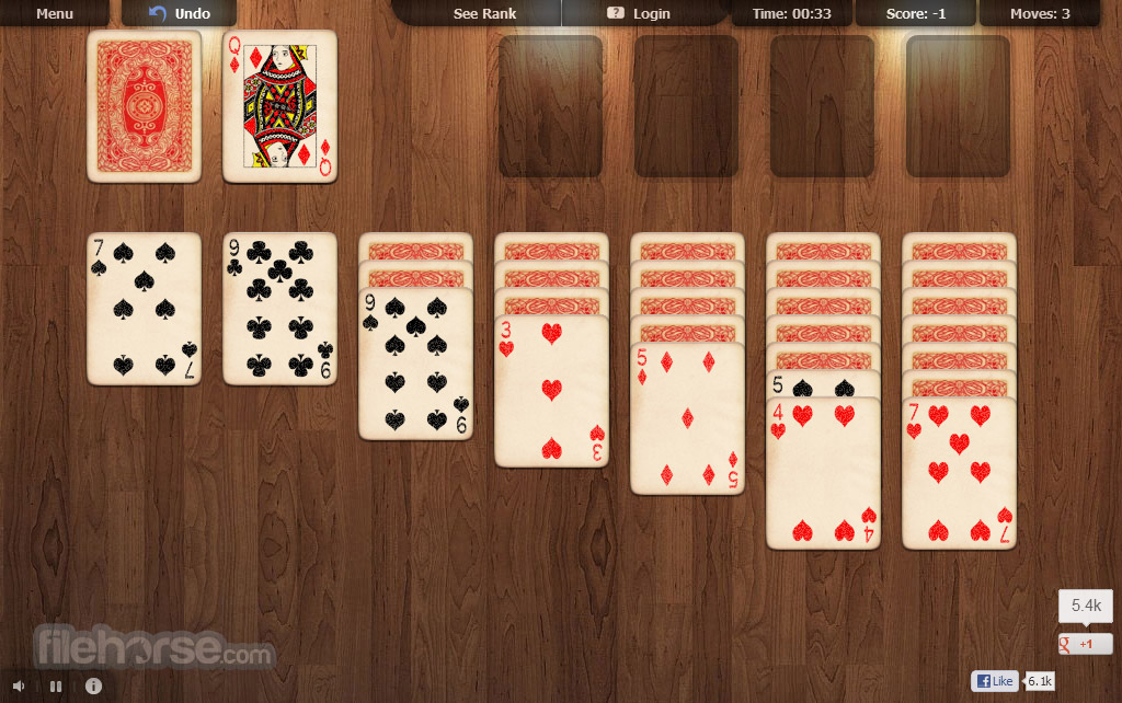 Online Solitaire  One click and its ready for play
