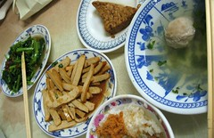 vegetables, tofu, meatball soup, rice and shredded pork