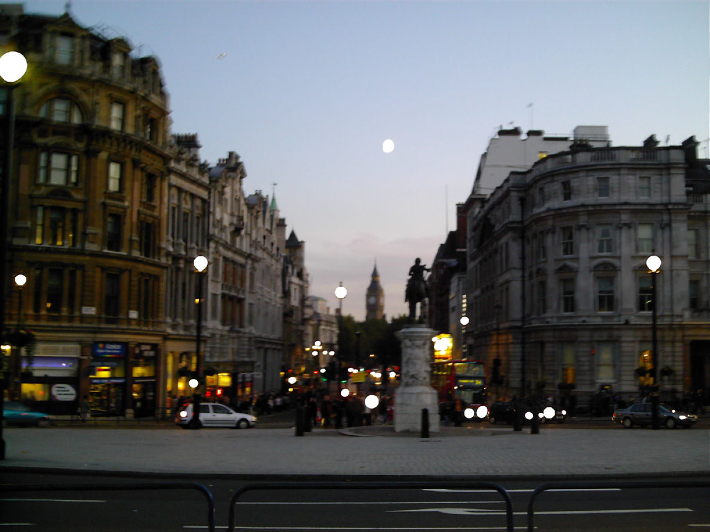 Moon Over Big Ben - from Trafalger Square