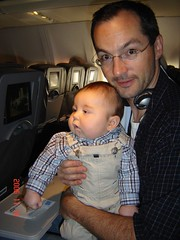 Daddy with Nicholas on his first flight