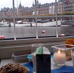 Höst i Stockholm, lunch på Galärbryggan