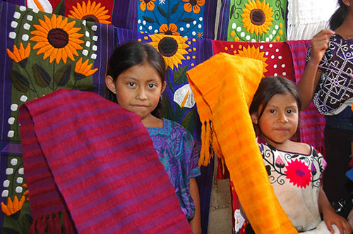 Zinacantan - 11 Girls presenting cloth
