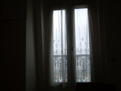 bedroom window, rainy day