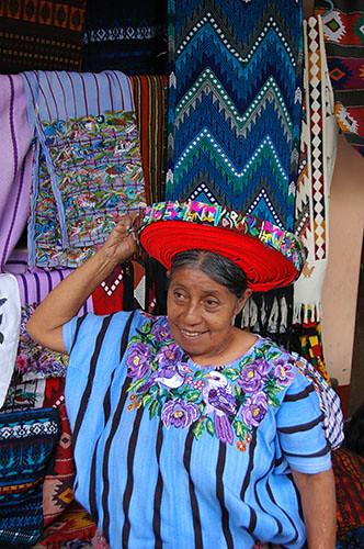 Lago Atitlan Santiago - 14 Woman donning tocoyal