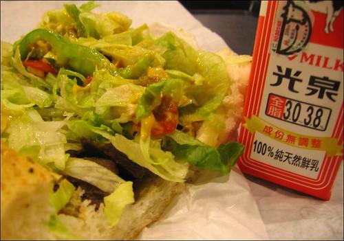 beef sandwich and milk