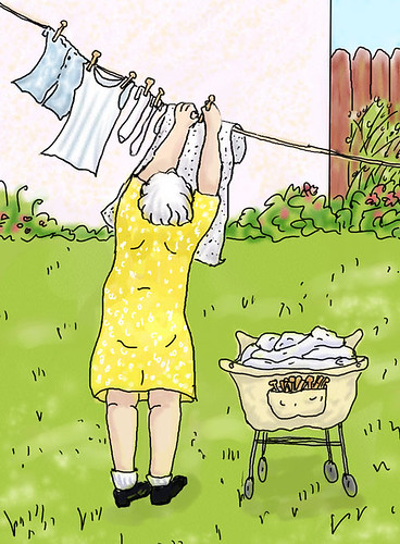 Breezy - Bubby hanging laundry