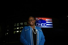 Leah Daughtry and the DNCC logo