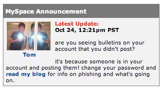 MySpace Phished